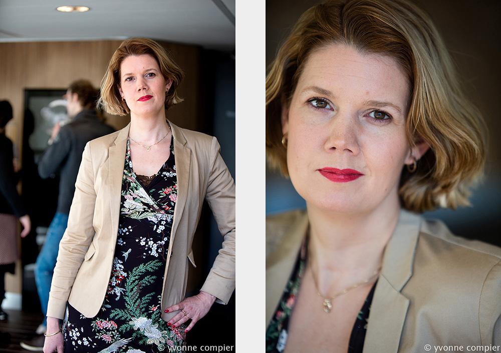 Voor de Advalvas een portretserie van prof. Bianca Beersma bij een artikel over roddelen