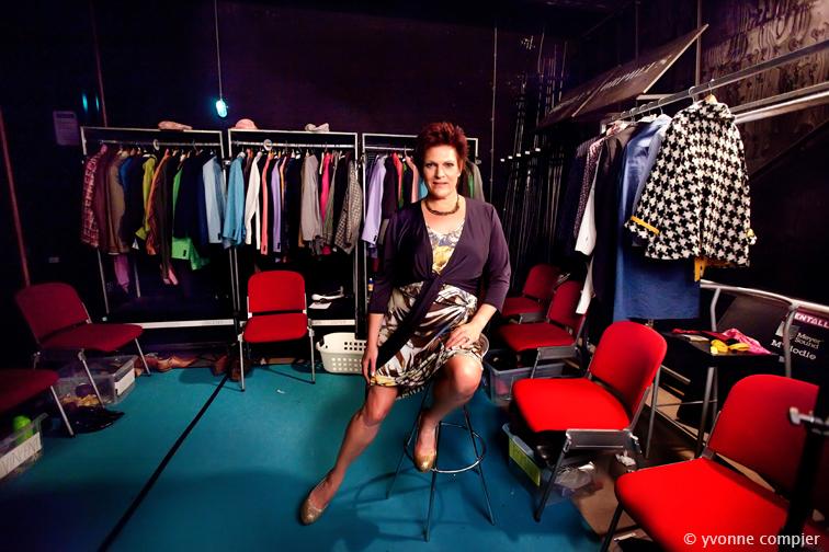 Marjolein Touw, actrice, gefotografeerd in het Orpheus theater in Apeldoorn waar zij speelt in de musical Petticoats van Joop van den Ende.