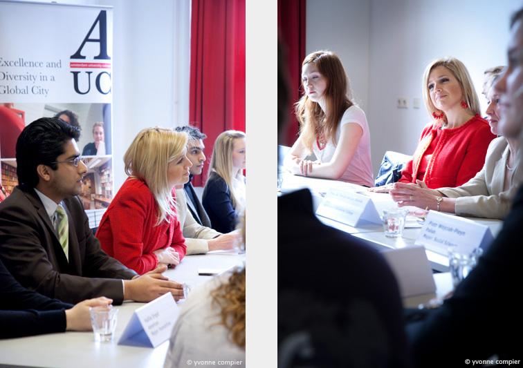 Een werkbezoek van prinses Maxima bij het AUC. De prinses was aanwezig bij 2 colleges en sprak met verschillende mensen.
