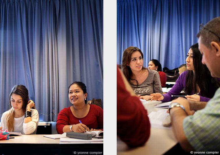 voor NT2 een serie foto's van lessituaties aan studenten van Niet nederlandse komaf. docent en studenten