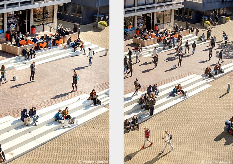 Voor de vu awarenesscampagne foto's vanaf het dak van studenten in verschillende situaties