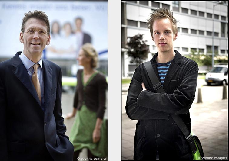 Voor het Vu Magazine een dubbelportret van Scheltens en v.d. Flier. in de achtergrond het Vumc